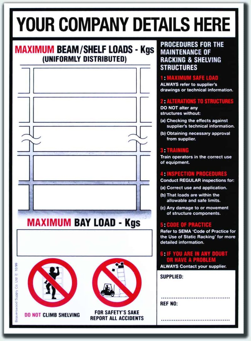 BLS1 (Shelf/Pallet Racking Notice)