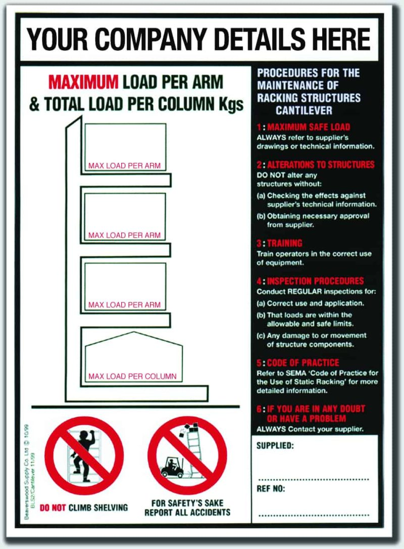 BLS2 (Cantilever Racking Notice)