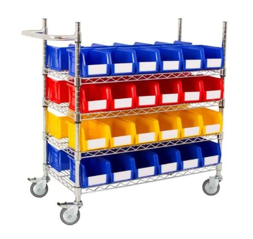 Double Sided 4 Shelf Trolley with 48 x BIN30