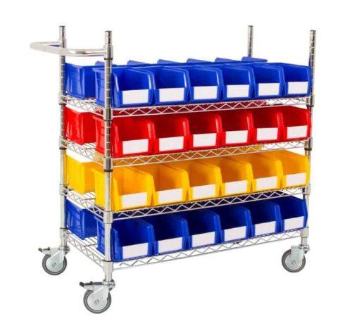 Double Sided 4 Shelf Trolley with 48 x BIN30