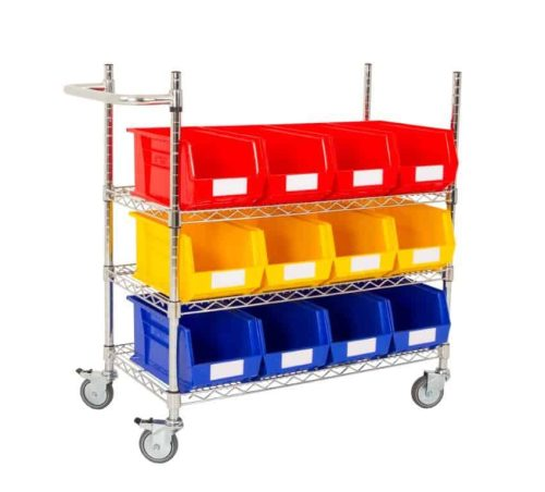 Single Sided 3 Shelf Trolley with 12 x BIN40