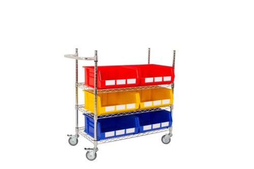Single Sided 3 Shelf Trolley with 6 x BIN60