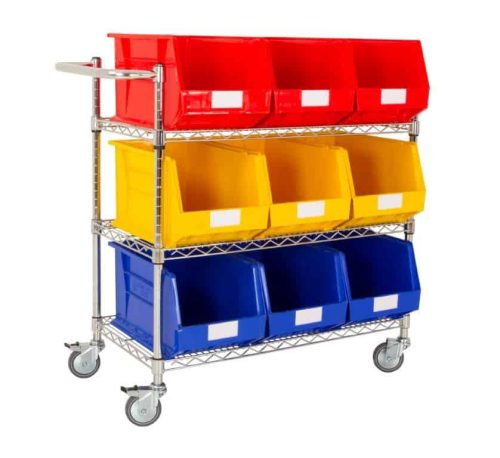 Single Sided 3 Shelf Trolley with 9 x BIN50