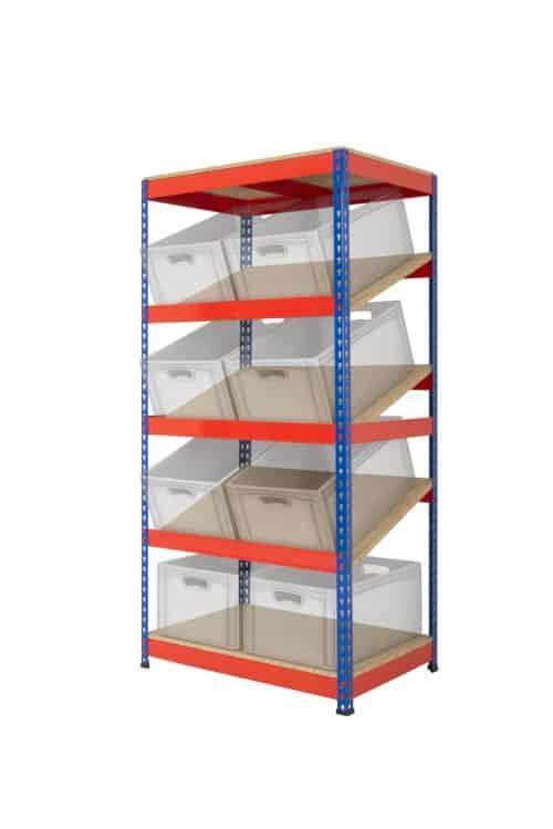 KanBan Shelving with 3 sloping shelves (RRKB03/MT)