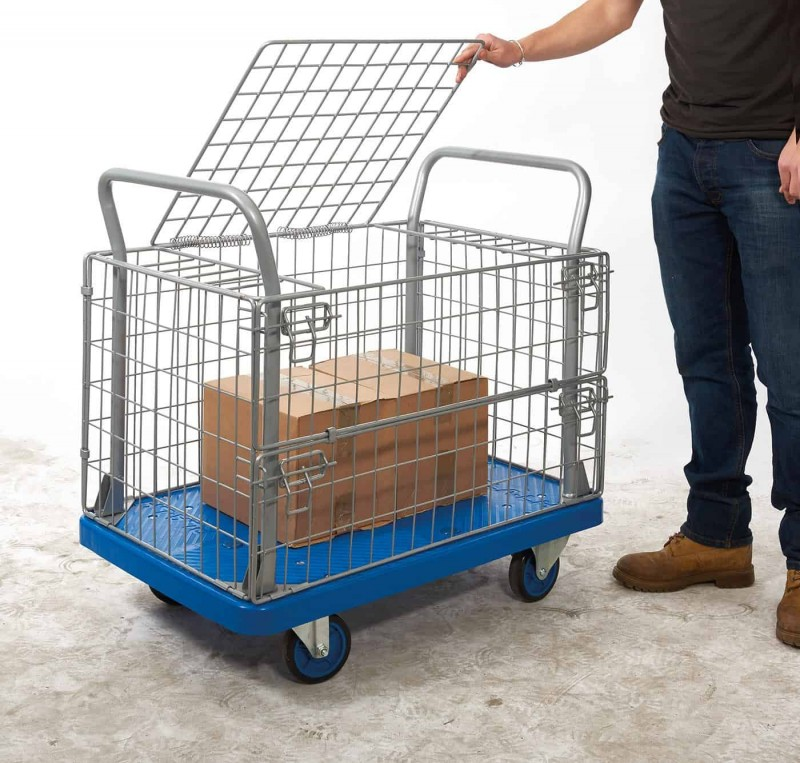 Proplaz Blue Mesh Truck with hinged Lid and 1/2 Drop Side (PPU24Y)