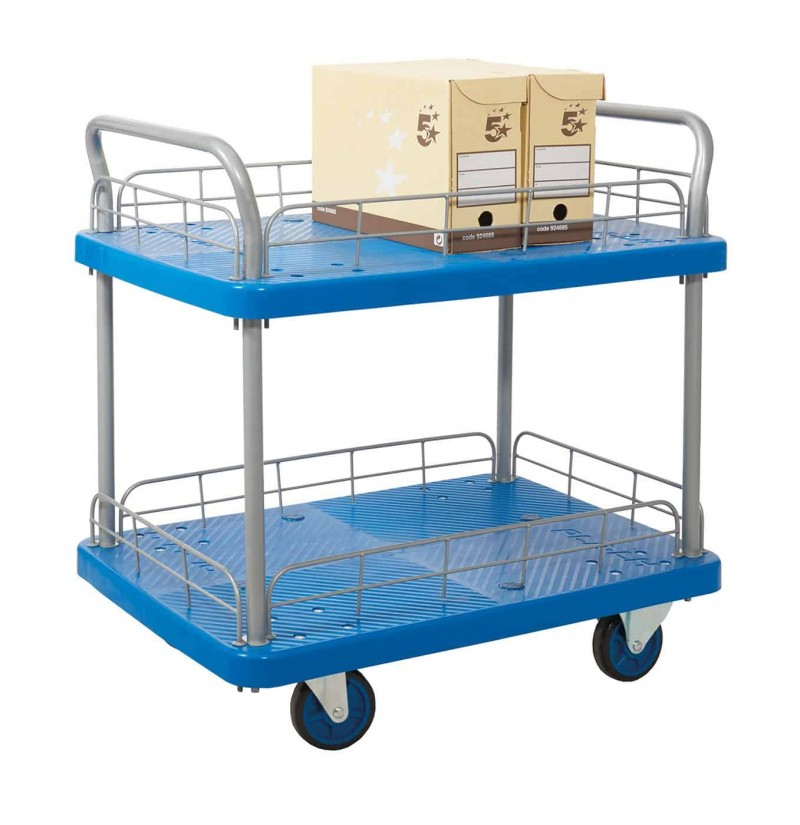 Proplaz Blue 2 Shelf Trolley with Wire Surround (PPU25Y)