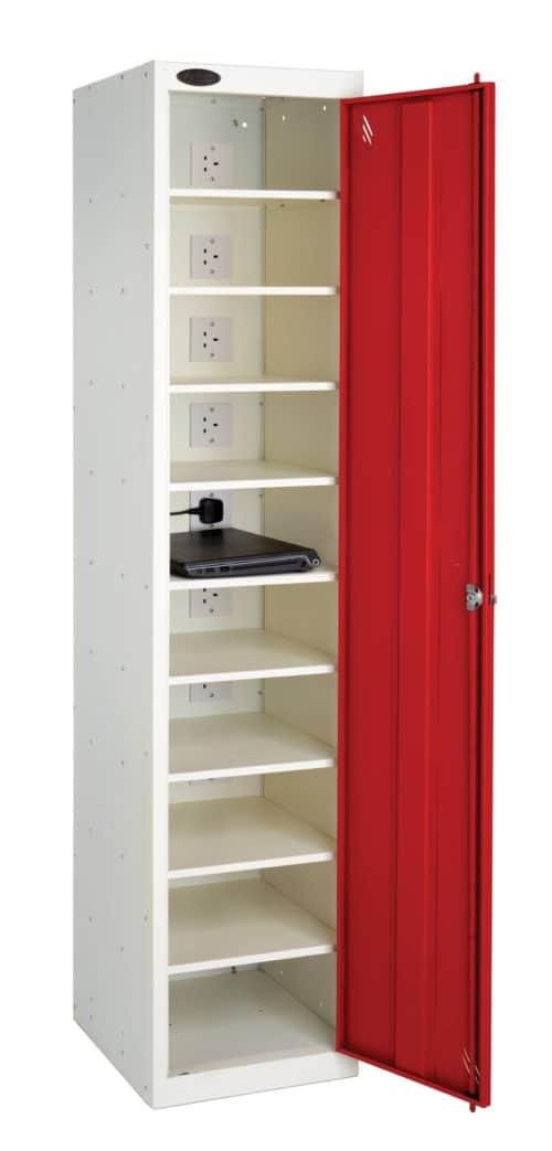Probe Media Tower - Single Door, 10 Shelf Laptop Locker